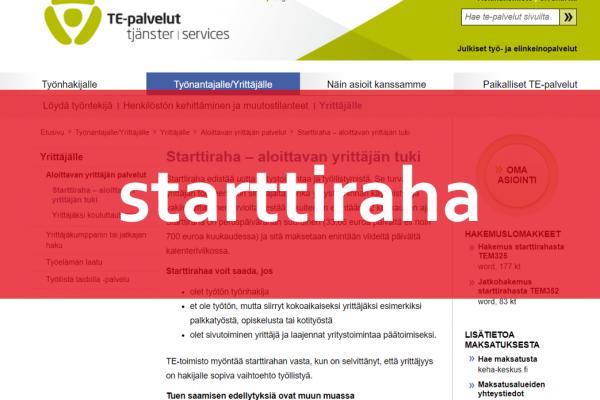 Starttirahahakemus ja liiketoimintasuunnitelma pohjoiskarjalaisittain – osa 2